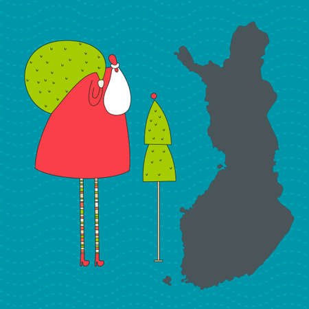 Santa Claus with bag an Christmas tree in Finland. Vector illustration.