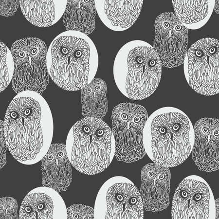 nu: Seamless background with cute owls. Vector pattern.