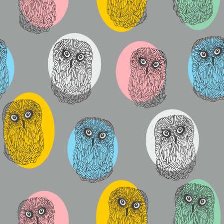 pajaro caricatura: Patrón sin fisuras con los búhos coloridos lindos. Vector de fondo repite.