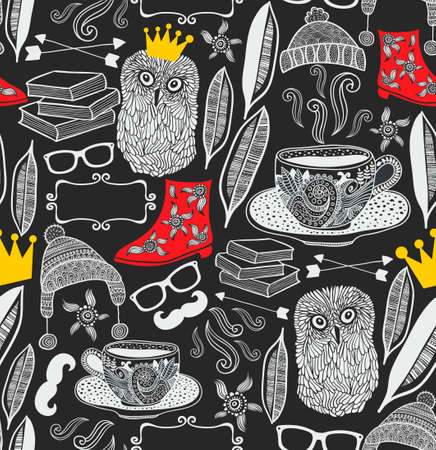 Seamless pattern with cute owl in crown. Vector repeated background. 일러스트