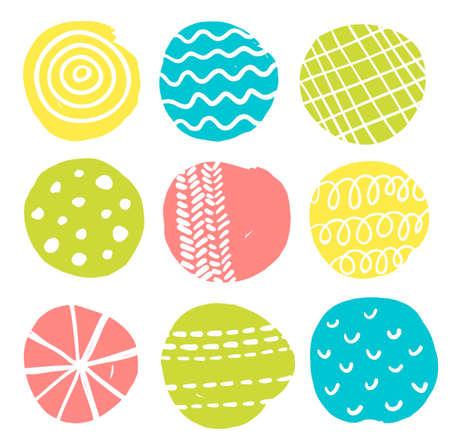 scandinavian: Colorful print. Vector illustration with scandinavian circles.