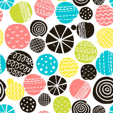 Simple scandinavian pattern. Vector illustration with cute circles. Vettoriali