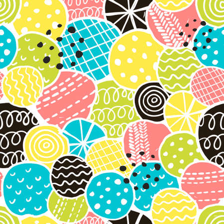 cute background: Cute seamless pattern with decorative rounds. Vector illustration, repeated background.