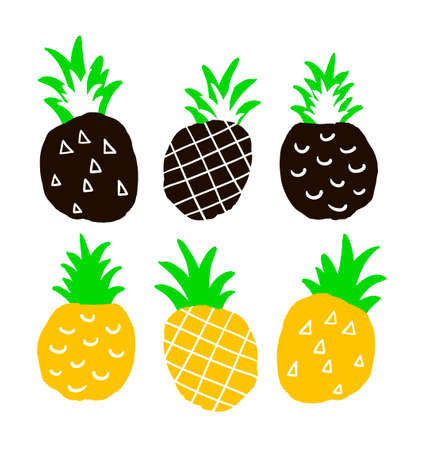 ananas: Set of hand drawn ananas. Isolated colorful pinepples on the white background. Coll print in vector.