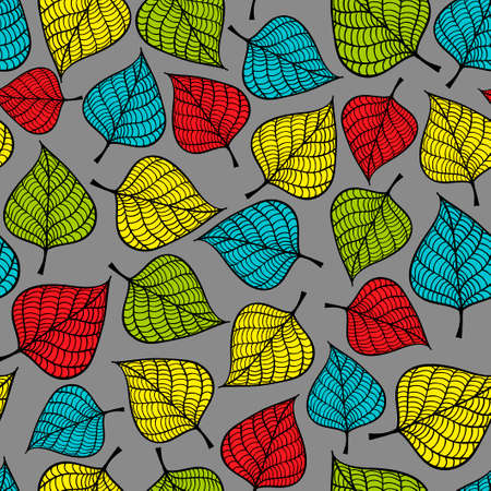 repeated: Seamless pattern with doodle leaves. Vector repeated background.