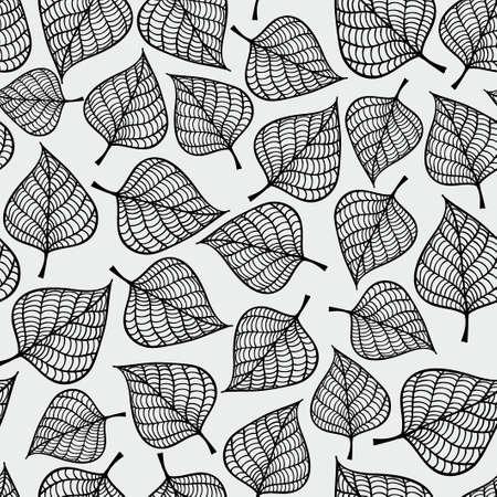 秋装飾のシームレスな黒と白の模様の葉します。無限の繰り返しのテクスチャです。テキスタイル デザイン、背景、壁紙のラッパーのテンプレート