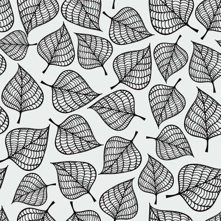 Decorative seamless black and white pattern with autumn leaves. Endless repeated texture. Template for design textile, backgrounds, wrappers, wallpaper. Çizim