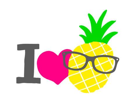 cartoon pineapple: I love pineapple print. Isolated vector illustration. Illustration