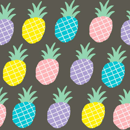Seamless background with black and white pineapples on the yellow background. Vector repeated pattern.