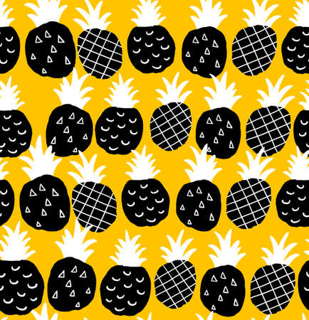pineapple: Seamless background with black and white pineapples on the yellow background. Vector repeated pattern.