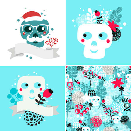 vector cartoons: Winter skulls illustrations set. Vector cartoons and seamless floral pattern.