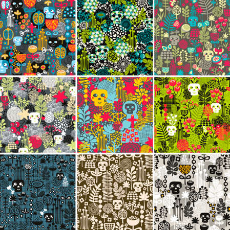 Set of floral seamless patterns with funny skulls. Vector repeated background.