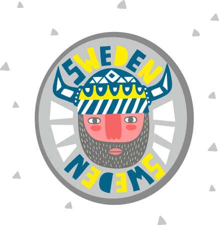 hombre con barba: Retrato colorido de vikingo. Emblema creativo de Suecia. Vectores