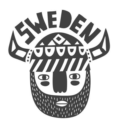 persona mayor: Vikingos cara en blanco y negro. Ejemplo creativo del vector.