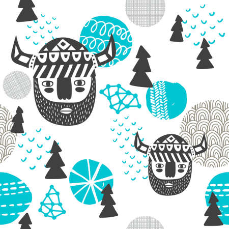 Seamless pattern with vikings faces. Vector repeated background of northern woodland. Illustration