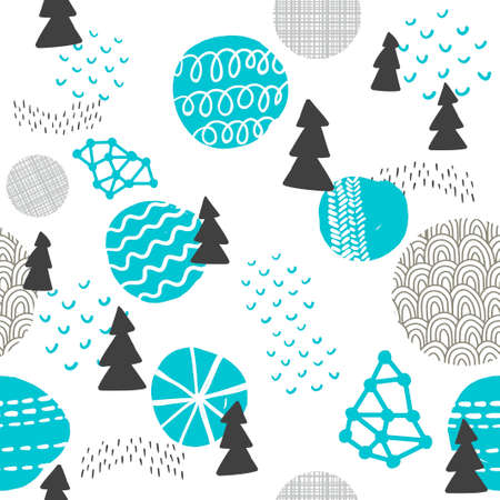 sweden: Seamless pattern in modern Scandinavian style. Vector background of north nature.