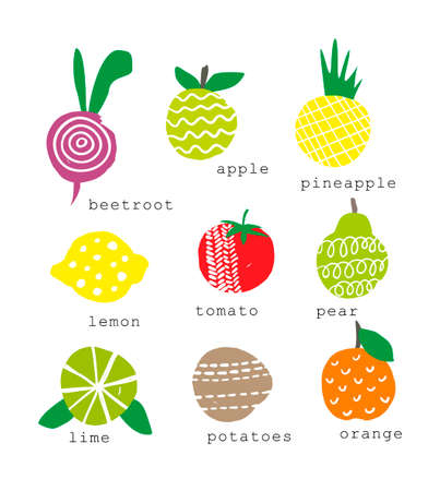 pineapple: Set of fresh fruits and vegetables. Abstrac object in vector.