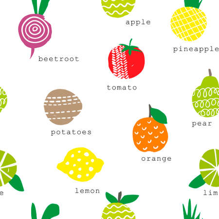 granny smith apple: Seamless pattern with fruits and vegetables. Vector repeated background.