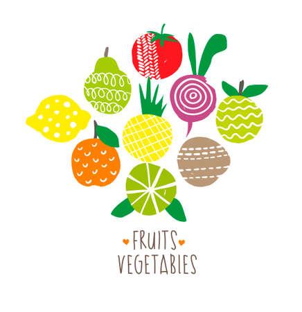 alimentacion natural: Impresi�n fresca con alimentos naturales. Ilustraci�n del vector. Vectores