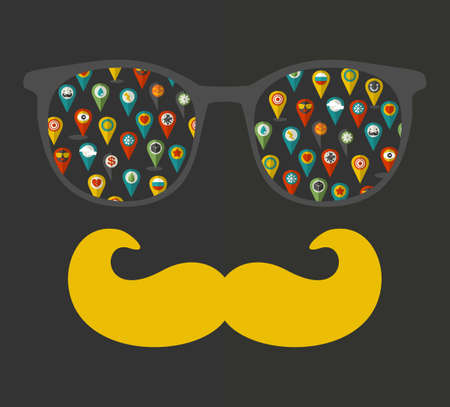eyeglass: Vintage eyeglasses with reflection. Vector illustration of accessory for hipster - sunglasses isolated. Best print for your t-shirt.