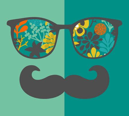 flor caricatura: Anteojos de la vendimia con la reflexión. Ilustración vectorial de accesorio para el inconformista - gafas de sol aislado. Mejor impresión para su camiseta.