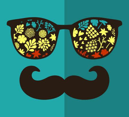 sunglasses reflection: Vintage eyeglasses with reflection. Vector illustration of accessory for hipster - sunglasses isolated. Best print for your t-shirt.