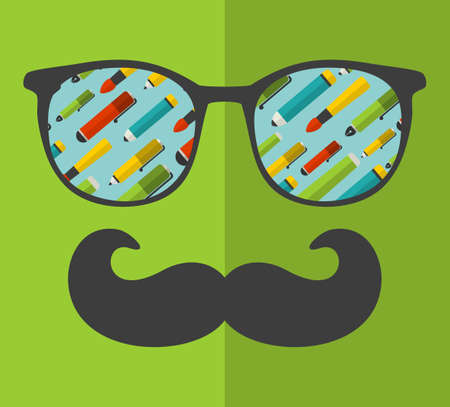 englishman: Vintage eyeglasses with reflection. Vector illustration of accessory for hipster - sunglasses isolated. Best print for your t-shirt.