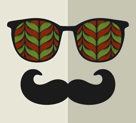 line pattern: Vintage eyeglasses with reflection. Vector illustration of accessory for hipster - sunglasses isolated. Best print for your t-shirt.