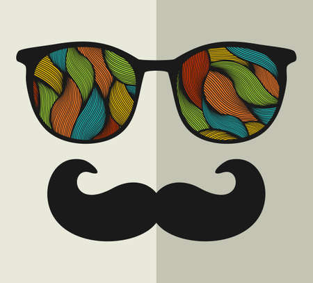 beard man: Vintage eyeglasses with reflection. Vector illustration of accessory for hipster - sunglasses isolated. Best print for your t-shirt.