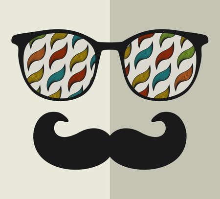 humor glasses: Vintage eyeglasses with reflection. Vector illustration of accessory for hipster - sunglasses isolated. Best print for your t-shirt.