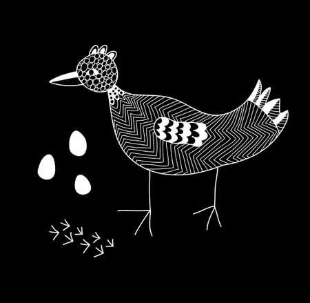 ornithology: Monochrome illustration of the cute bird.