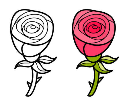 Beautiful cartoon rose.