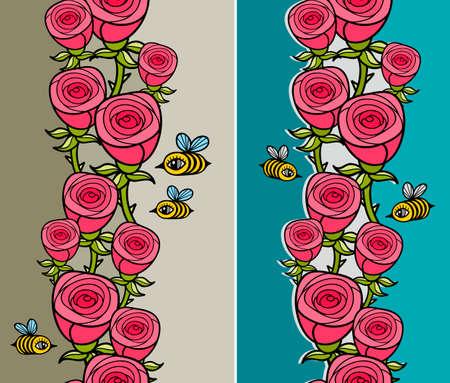 flor caricatura: Conjunto del modelo vertical con flores e insectos.