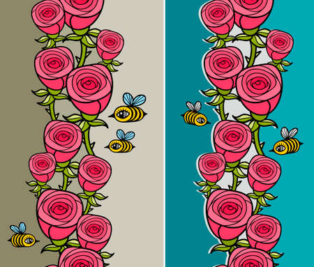 cartoon flower: Set of vertical pattern with flowers and insects.