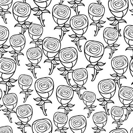 white flowers: Romantic pattern of black and white roses. Seamless background with cute flowers. Floral illustration for coloring.