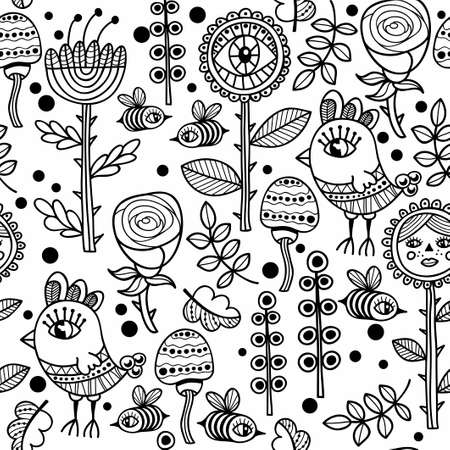 fabric patterns: Seamless pattern with birds and flowers.