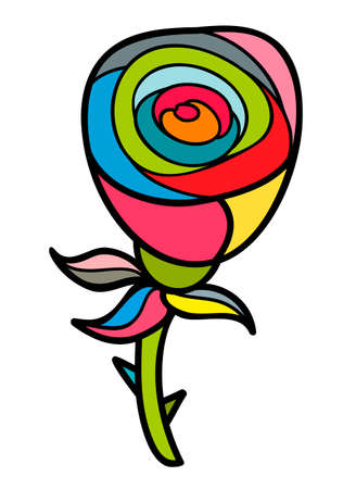cartoon window: Artistic doodle rose. Hand drawn illustration Illustration