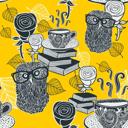 fall leaves: Seamless background with hot tea and clever owls. Funny repeating pattern in black and white colors.