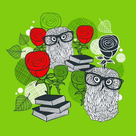 cartoon flower: Bright print with polar owls and red roses. Romantic  illustration.