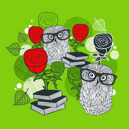 flor caricatura: impresión brillante con búhos polares y rosas rojas. Ilustración romántica. Vectores
