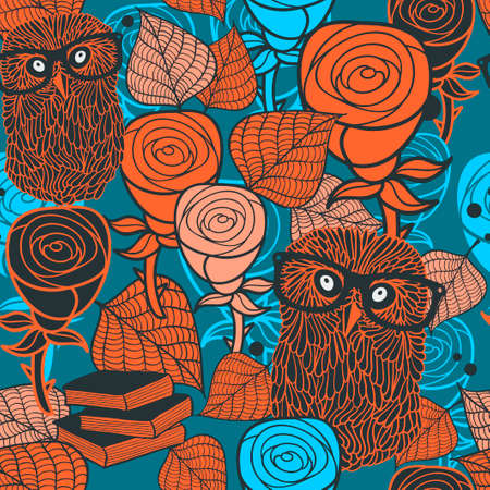 flora fauna: Seamless pattern with flora and fauna. illustration of forest owl in glasses and autumn leaves. Repeating background in orange and blue colors.