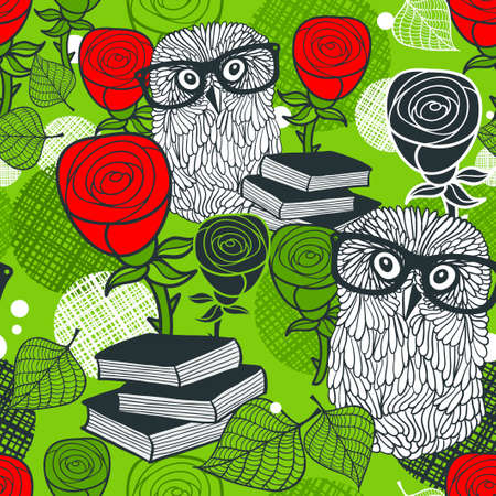 Seamless colorful pattern with birds in glasses and red roses. background of clever owls.