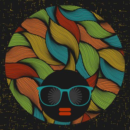 Mujer cabeza de negro con el modelo extraño en su pelo. Ilustración del vector.