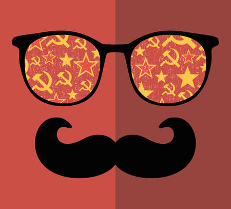 stalin: Retro sunglasses with reflection for hipster. Vector illustration of accessory - glasses isolated. Best print for your t-shirt. Illustration