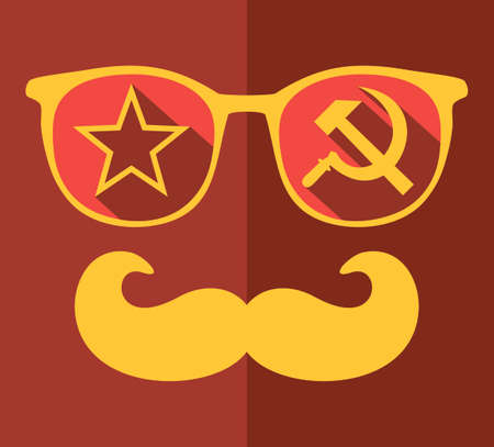 Retro sunglasses with reflection for hipster. Vector illustration of accessory - glasses isolated. Best print for your t-shirt.