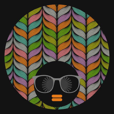 sunglasses: Black head woman with strange pattern on her hair. Vector illustration.