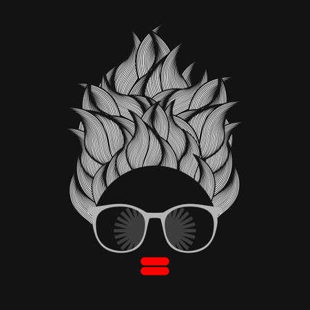 elegant woman: Black head woman with strange pattern on her hair. Vector illustration.