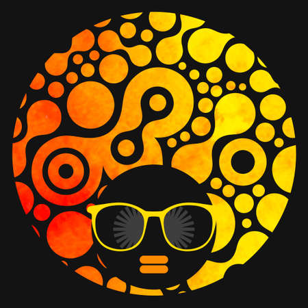 african woman: Black head woman with strange pattern on her hair. Vector illustration.