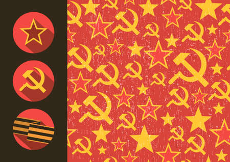 hammer and sickle: Set of flat style icons of Soviet Union signs seamless pattern. Vector illustration.