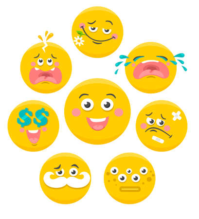 scared: Set of yellow smile faces. Vector collection. Illustration